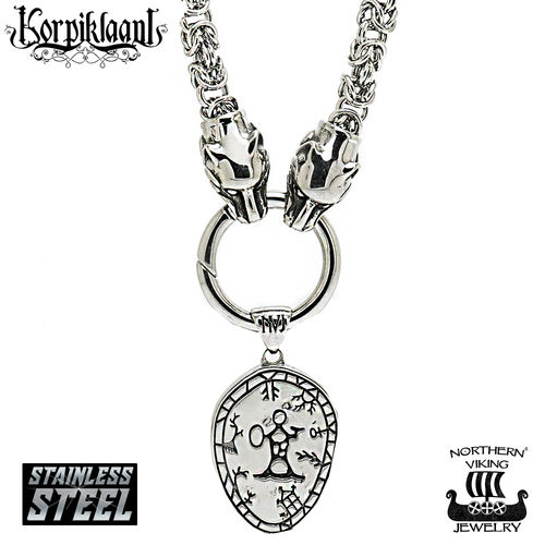 Northern Viking Jewelry® Korpiklaani Shaman Drum King chain pendant with wolfheads