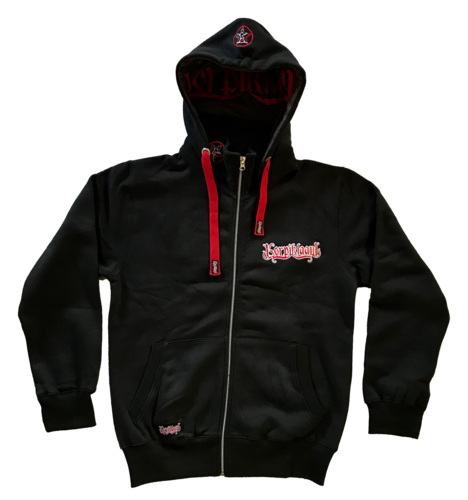Red logo zipper hoodie, embroidered